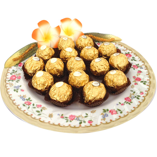 Imported Brands-Ferrero Rochers in Floral Plate