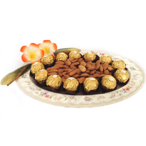 Almonds & Ferrero in Floral Plate