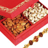 Gift Red Satin Dryfruit Box on Rakhi