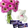 Gift Beautiful Gerberas with Teddy and Chocolate on Rakhi