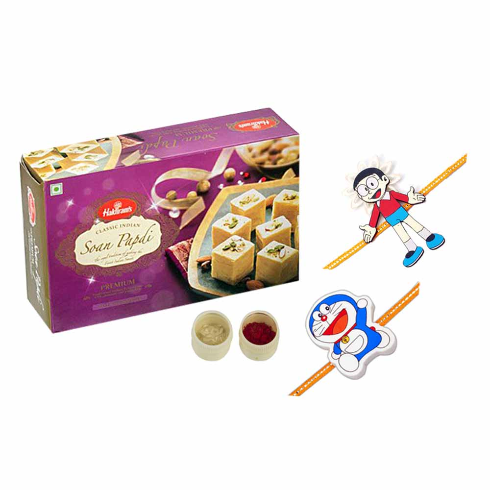 Soan Papdi n set of 2 kids rakhis