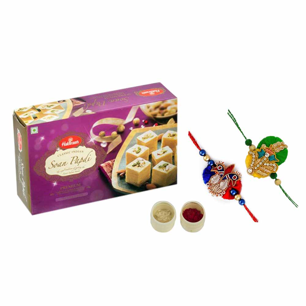 Soan Papdi with set of 2 rakhis