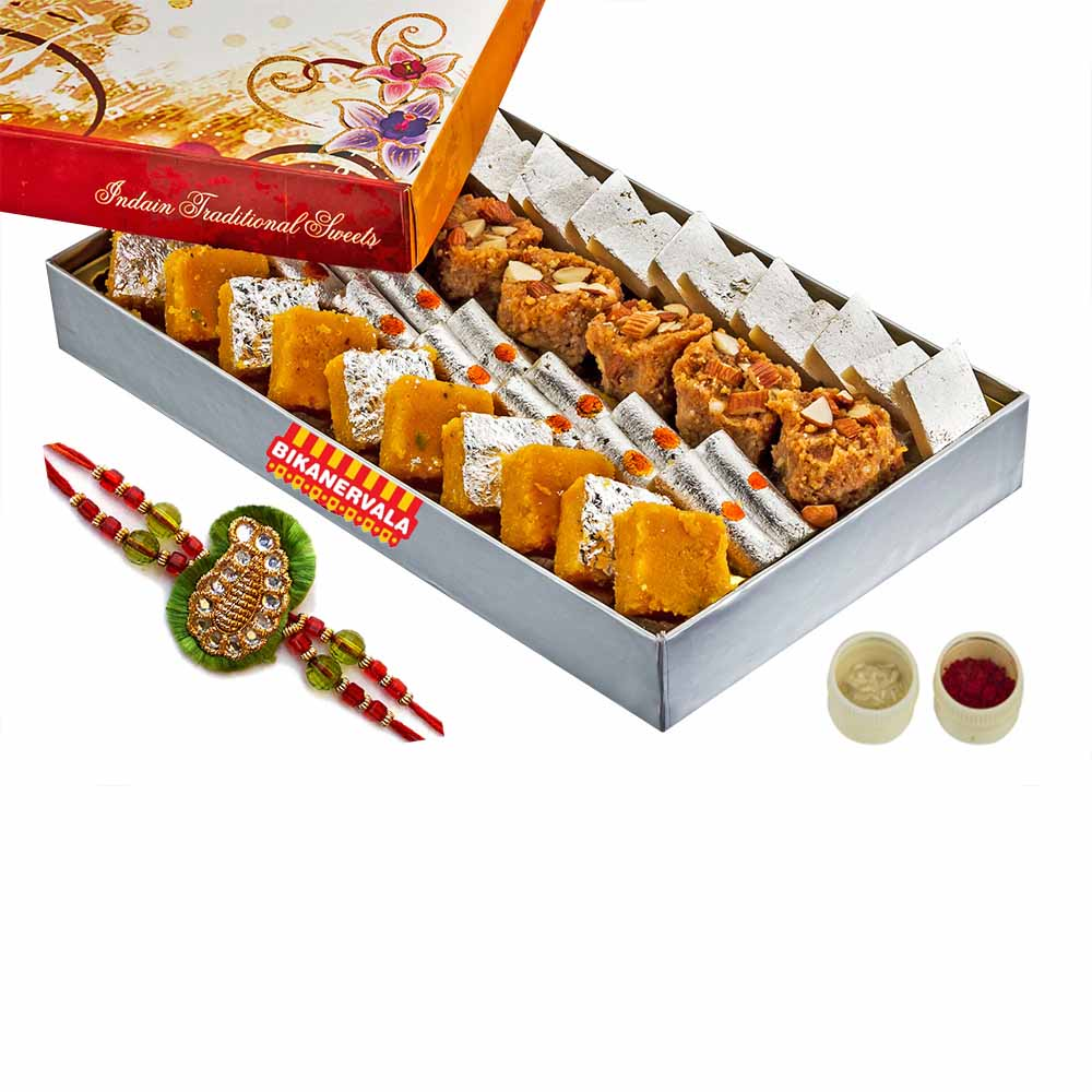 Rakhi Hampers-Delicious Sweets mix & Rakhi