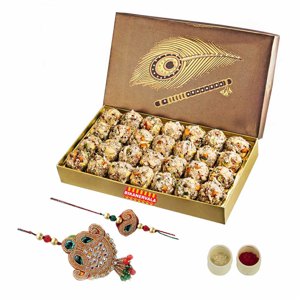 Rakhi Hampers-Dry Fruit Laddoo n Rakhi Loomba Set