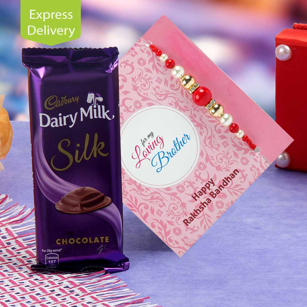 Joyful pack of chocolate and rakhi