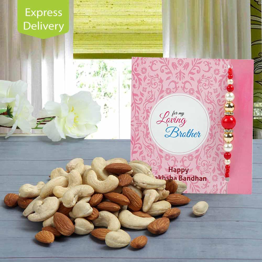 Rakhi Flower Hampers-Beads & Nuts