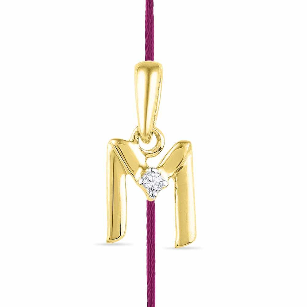 Alphabet M Rakhi Cum Diamond Pendent