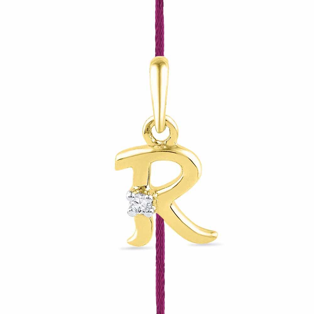 AlphabetR Rakhi Cum Diamond Pendent