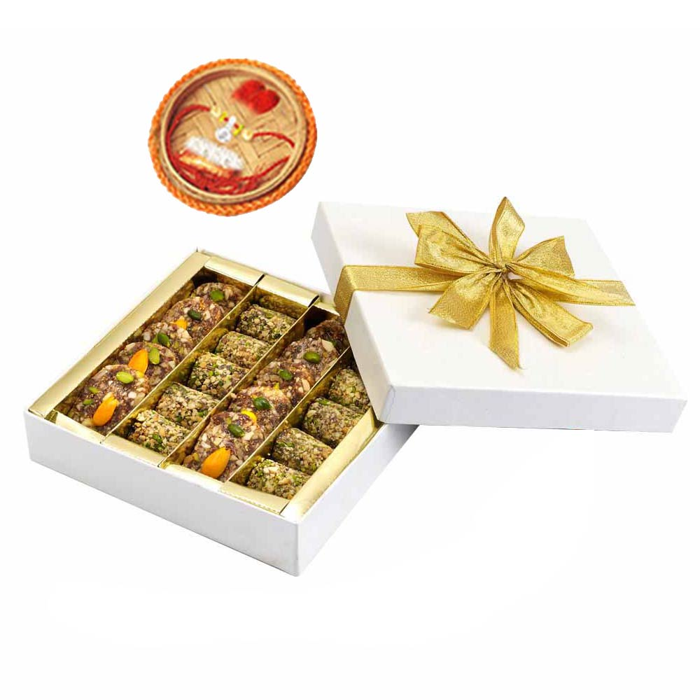 Assorted Mithai Boxes-Sugarfree Khajur Walnut Mithai & Rakhi