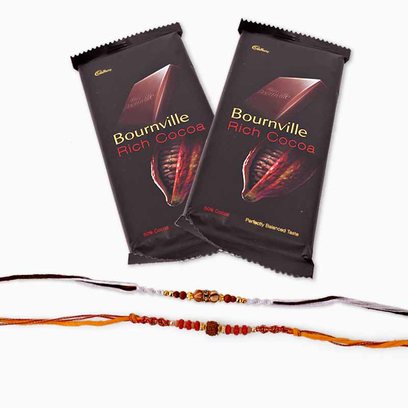 Bournville Chocolate with Set of Two Rakhi