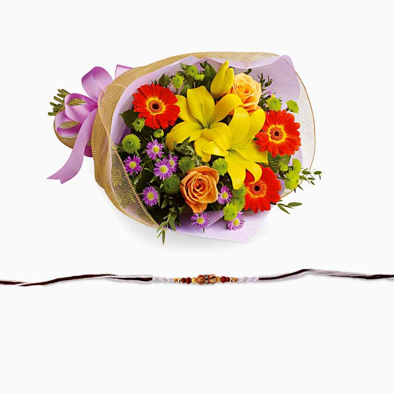 Stylish Rakhi with Exotic Bouquet