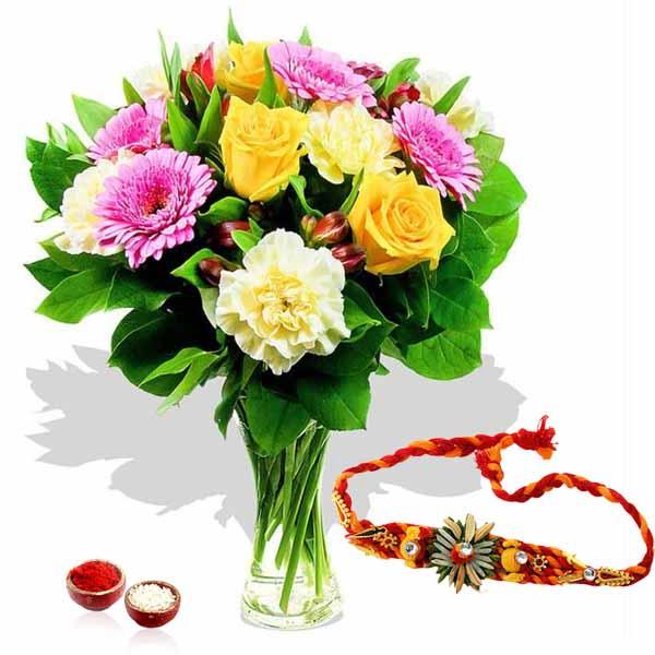 Rakhi and Mix Flowers Arrangement