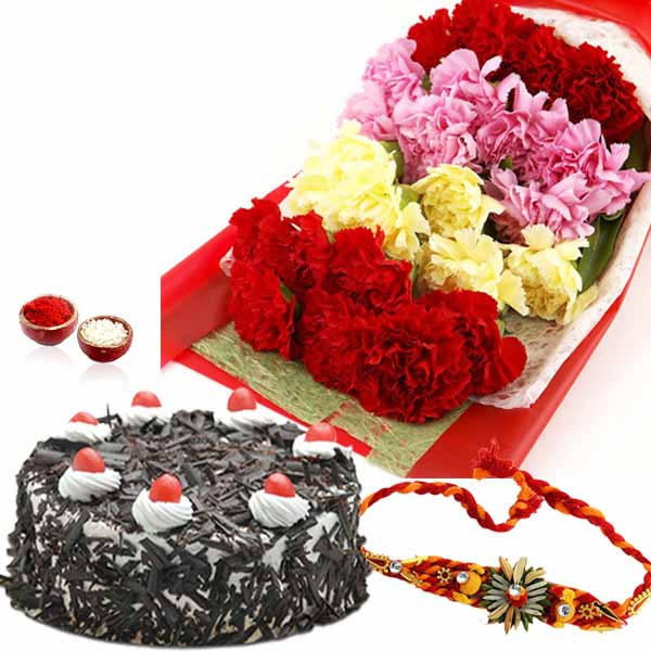 Mix Carnation with Black Forest Cake and Rakhi
