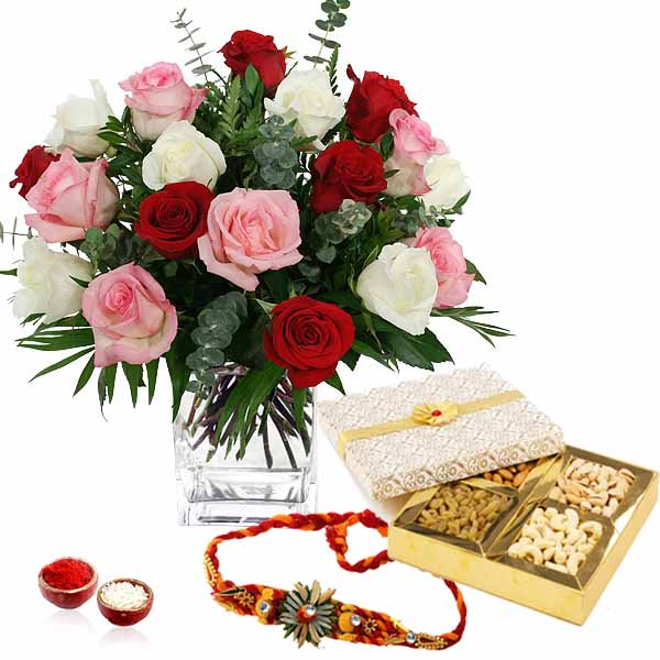 Dry fruits and Roses and Rakhi Thread