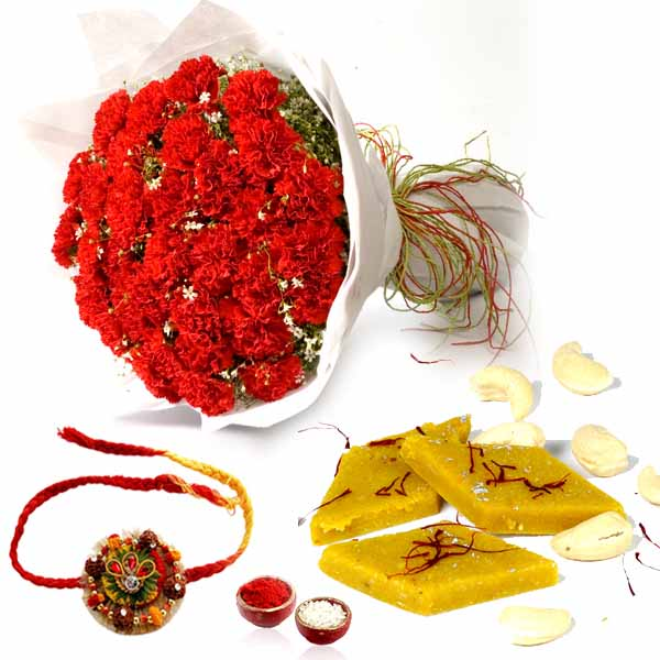Kesar Kaju Katli with Rakhi and Red Carnations