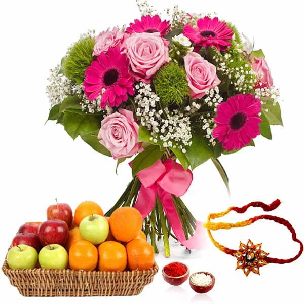 Flower Bouquet with Mix Fruits and Rakhi