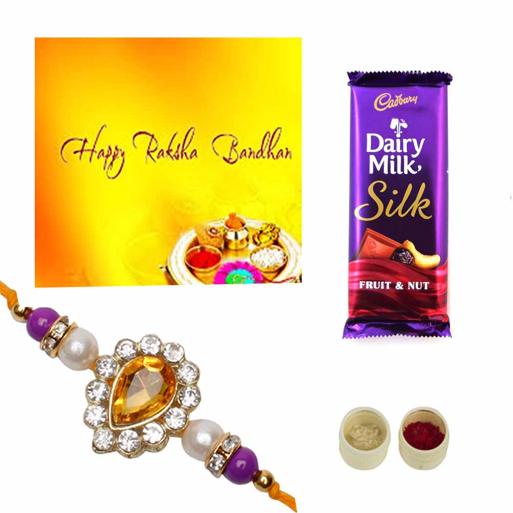 Silky Rakhi Greetings trio pack