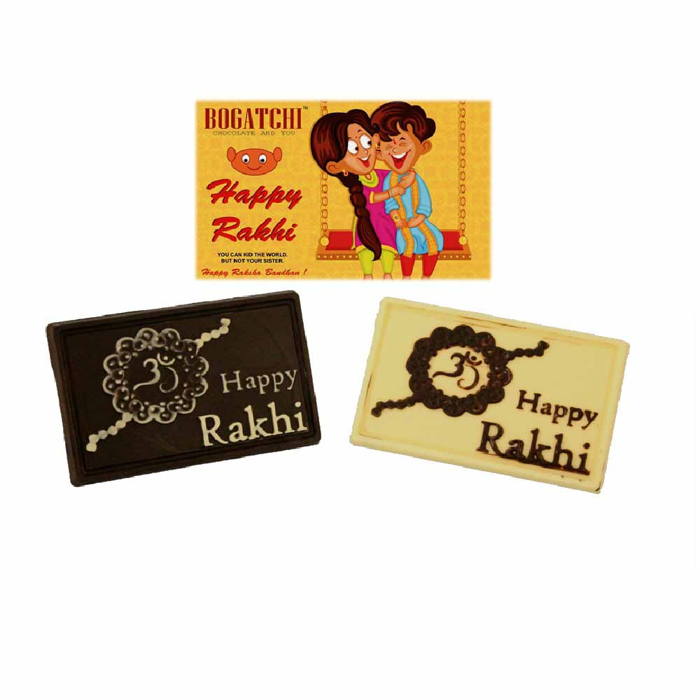 Rakhi Hampers-Bogatchi Dual Rakhi Wishes Chocolate Box