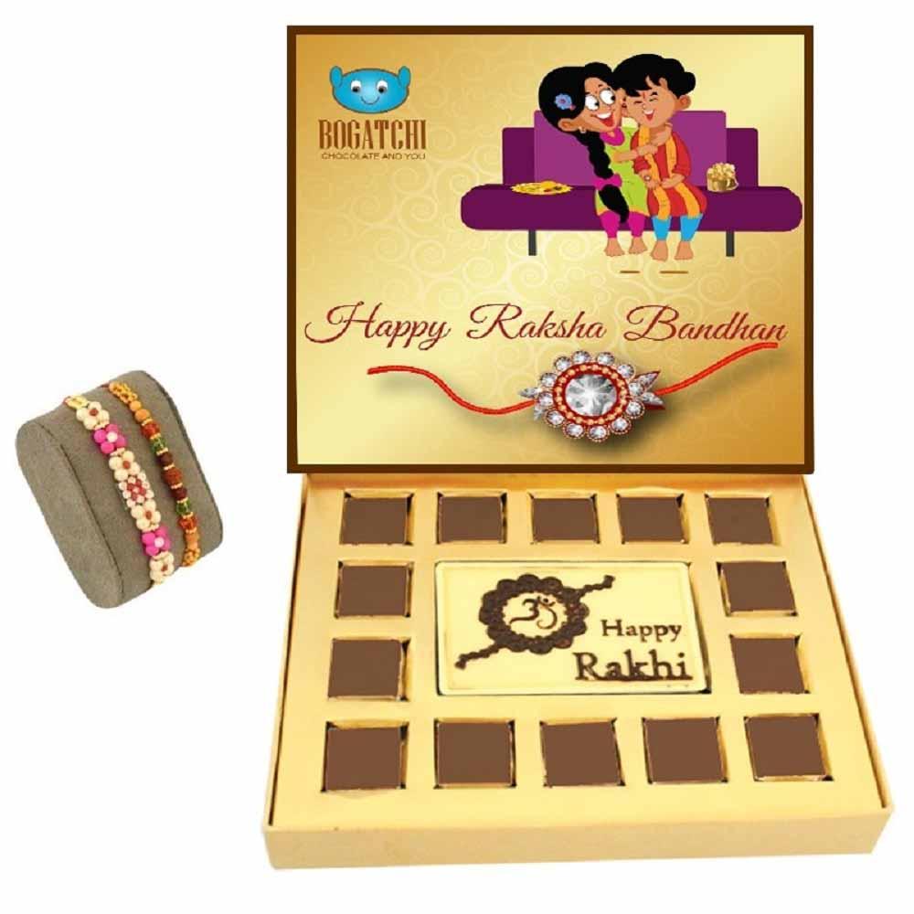 Bogatchi Rakhi Jubilation chocolate box Pink Beads & Rudraksh Rakhi