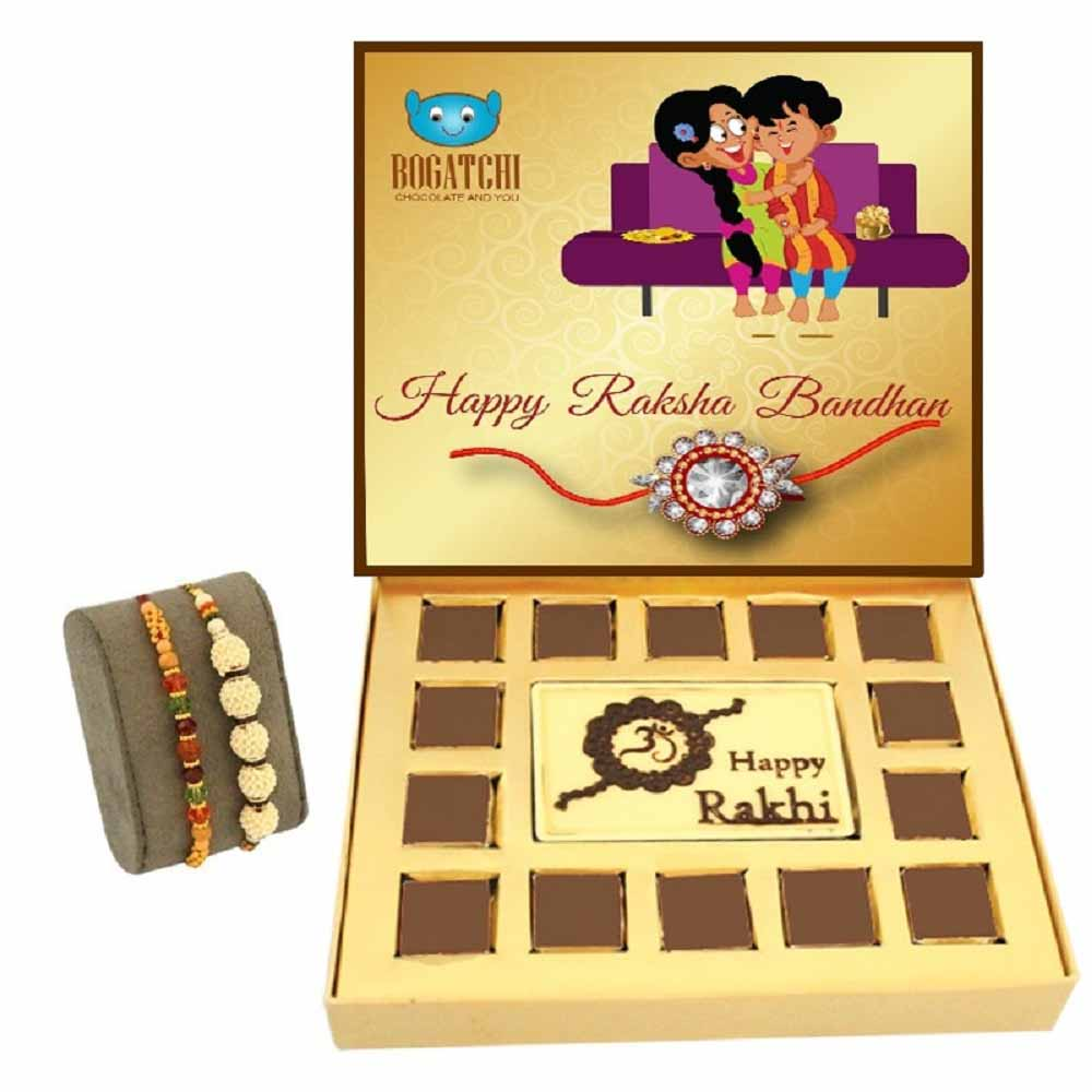 Bogatchi Rakhi Jubilation chocolate box with Rudraksh and Pearl Round