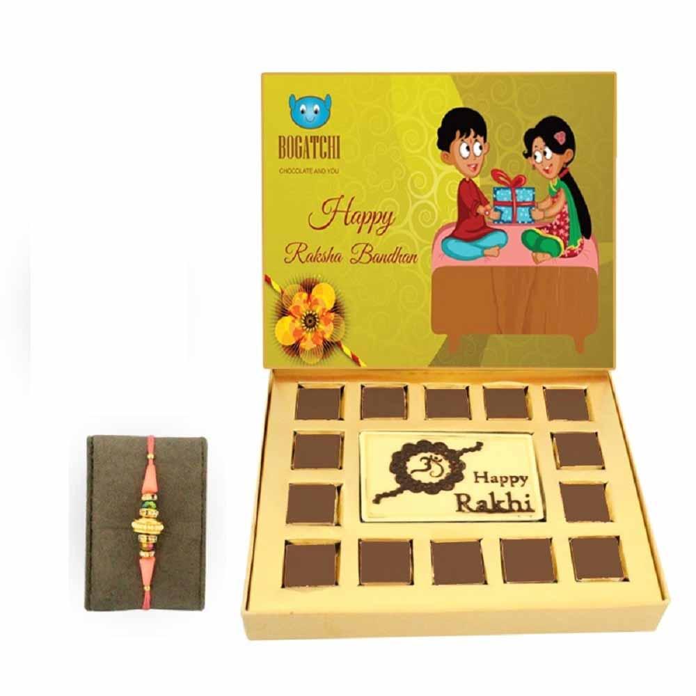 Bogatchi Rakhi Chocolate Gift Box with Pink Pearl Rakhi