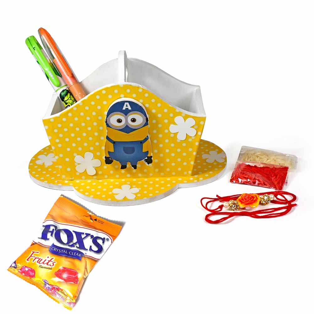 Bob The Minion Yellow Stationary Organiser (Medium)-Best Rakhi Gift for Brother and Sister