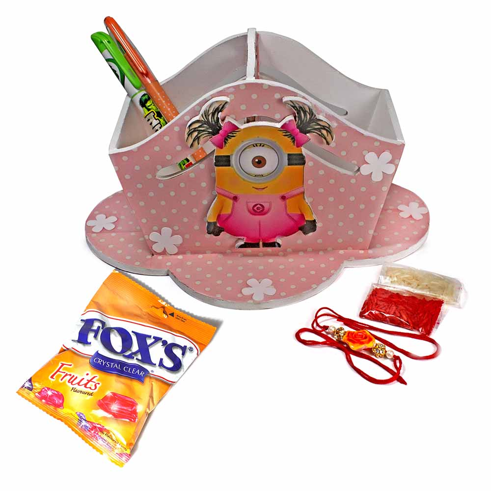 Girl Minion Stationary Organiser(Big)-Best Rakhi Gift for Sister