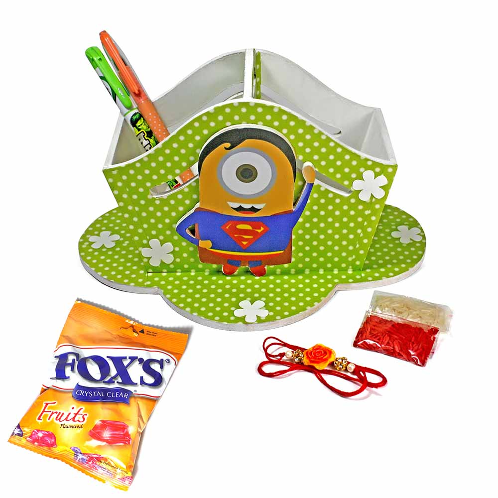 Superman Superhero Minion Stationary Organiser (Big)-Best Rakhi Gift for Brothers
