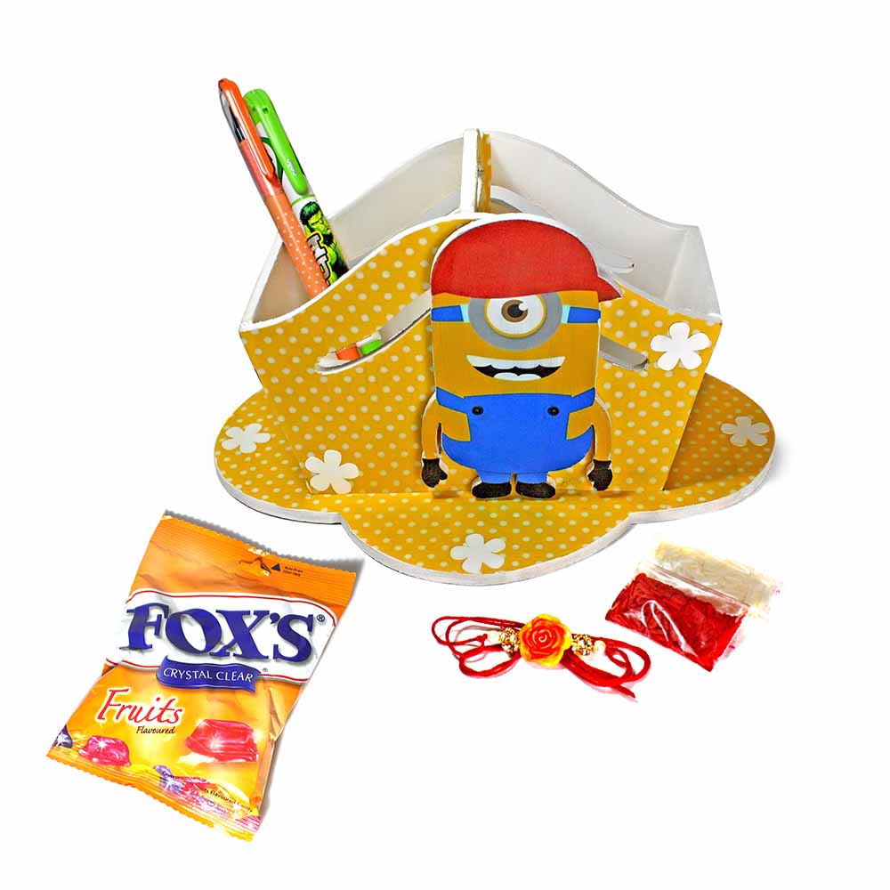 Bob The Minion Yellow Stationary Organiser (Big)-Best Rakhi Gift for Brother and Sister