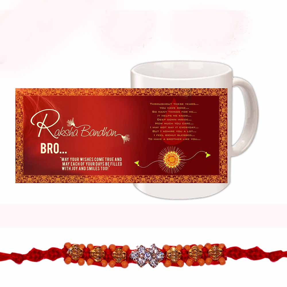 Diamond Stones Beads Rakhi for Bhaiya