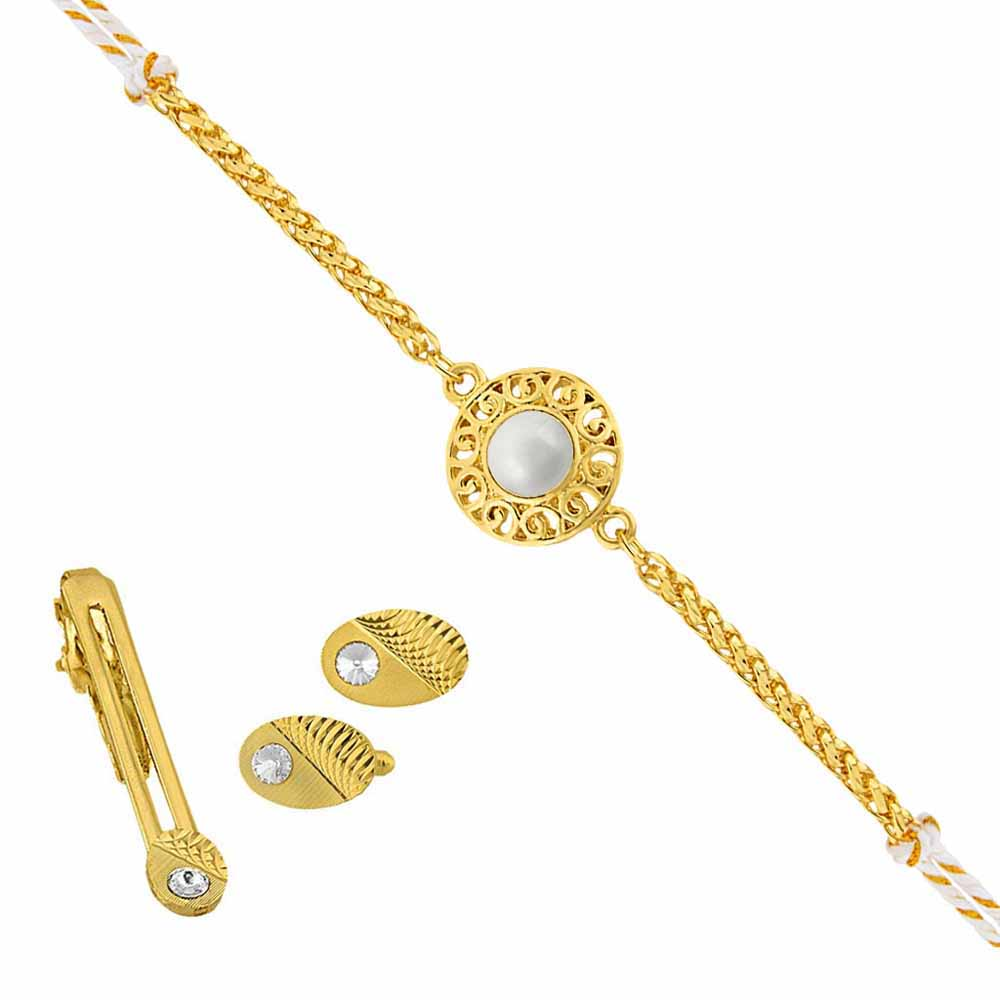 Sri Jagdamba Pearls Sparkling Cufflink & Tie Pin