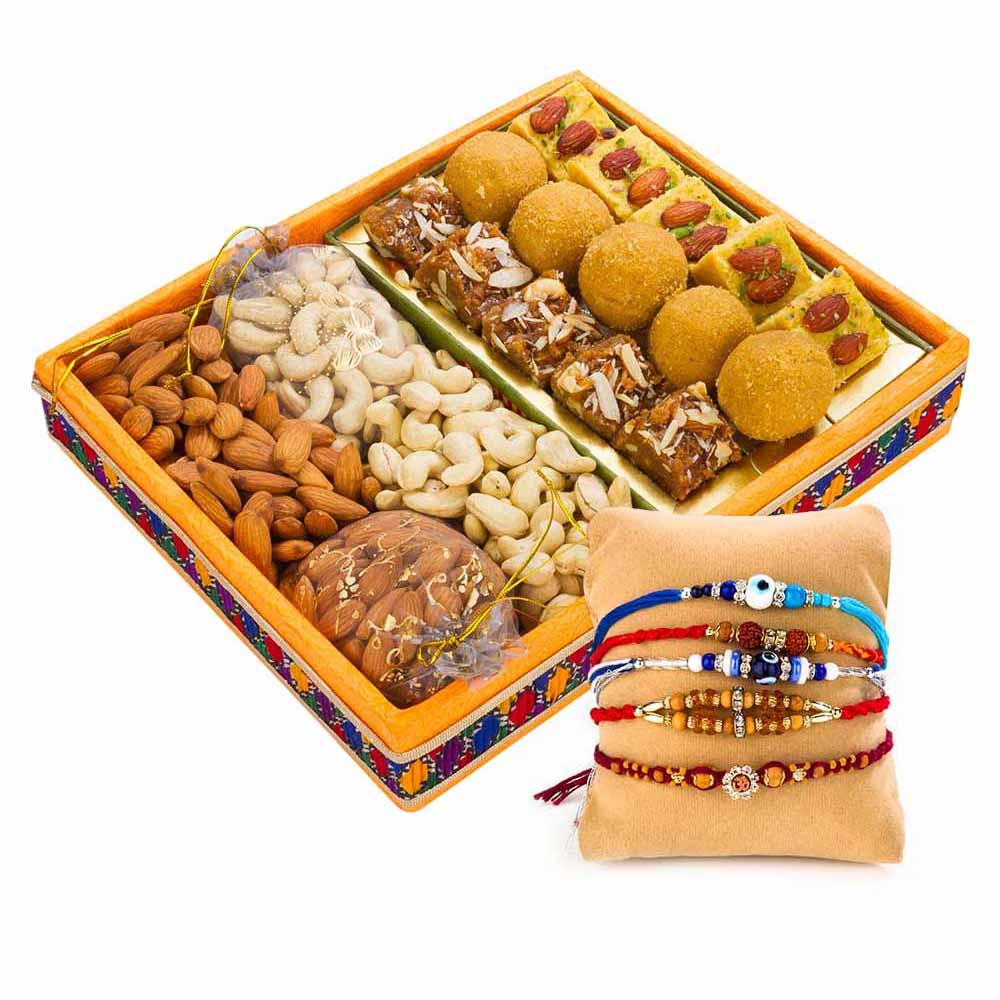 sweet n nutty delight with set of 5 rakhi's