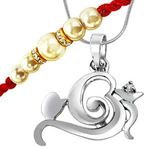 Sterling Silver Pendant + white shell pearl Rakhi