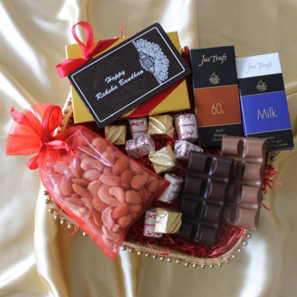 Chocolates & Cookies-Mini Chocolate Gift hamper with Rakhi