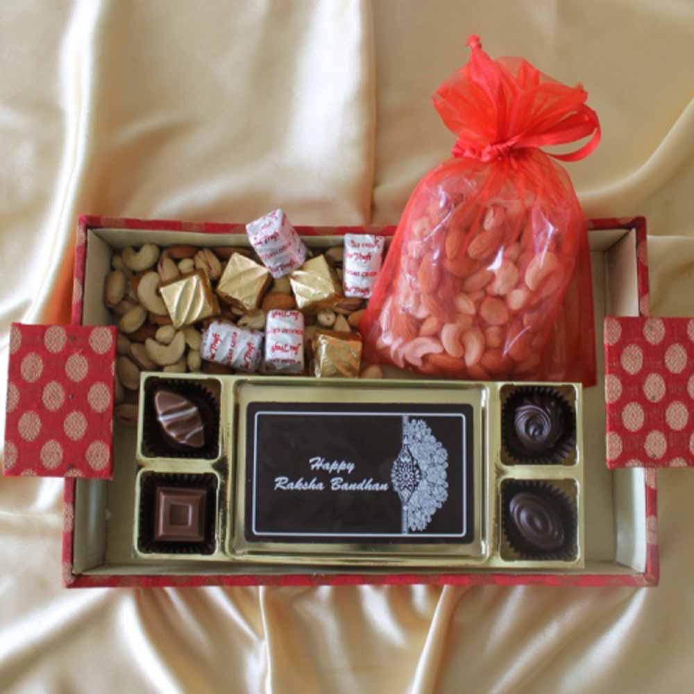 Chocolates & Cookies-Designer Rakhi hamper