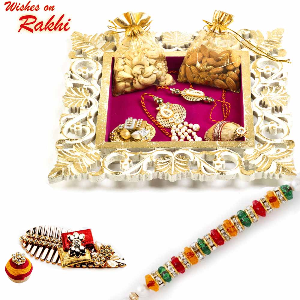 Square Shape Dry fruit Tray with Bhaiya Bhabhi Rakhi Set