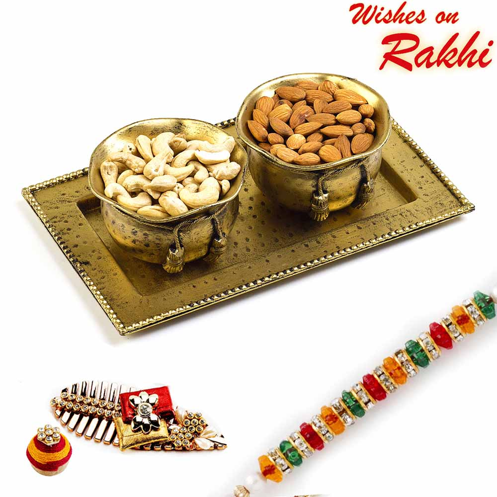 Brass Finish Dry fruit Bowl Set with Rakhi Hamper