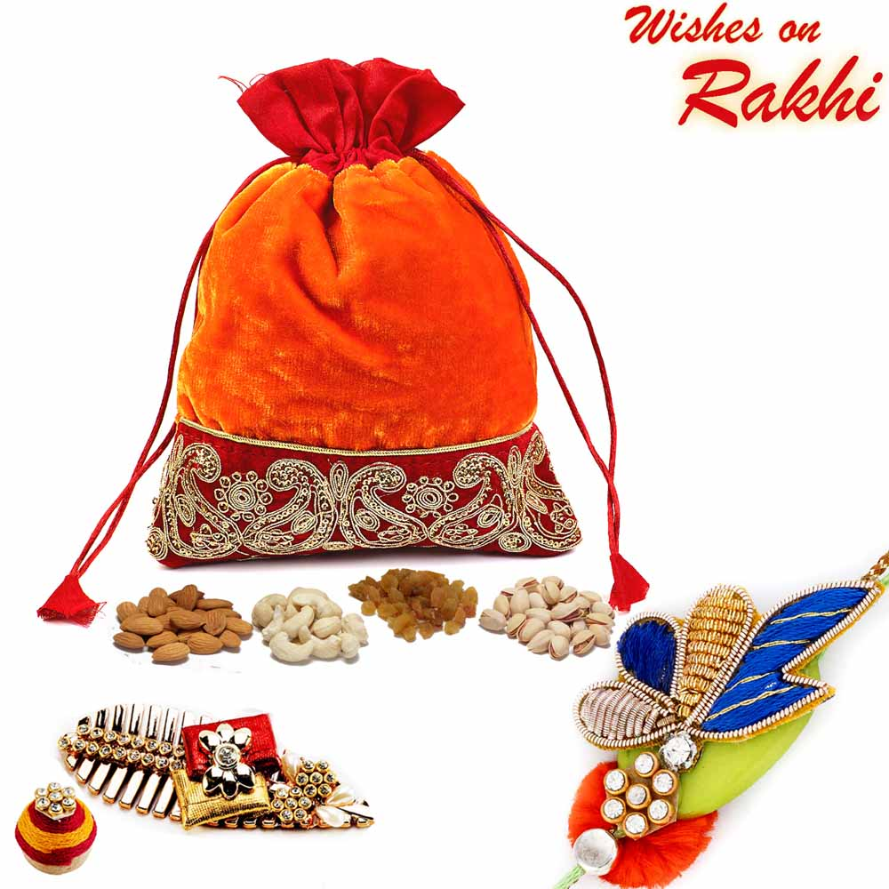 Zari work Velvety Dry fruit Pouch and Rakhi Hamper