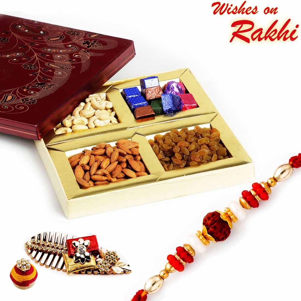 Rakhi Hampers-Dryfruit Box with Homemade Chocolates & Rudraksh Rakhi
