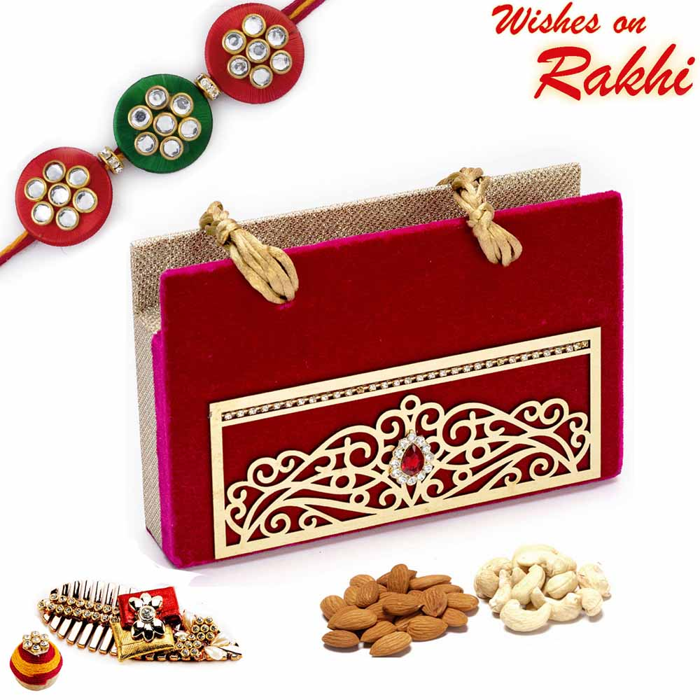 Rakhi Hampers-Maroon Envelope Style Dryfruit Pack