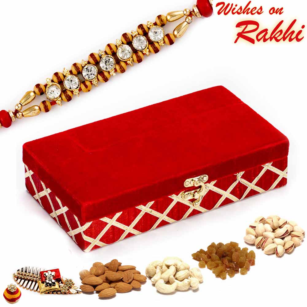 Red Rectangular Dryfruit Box