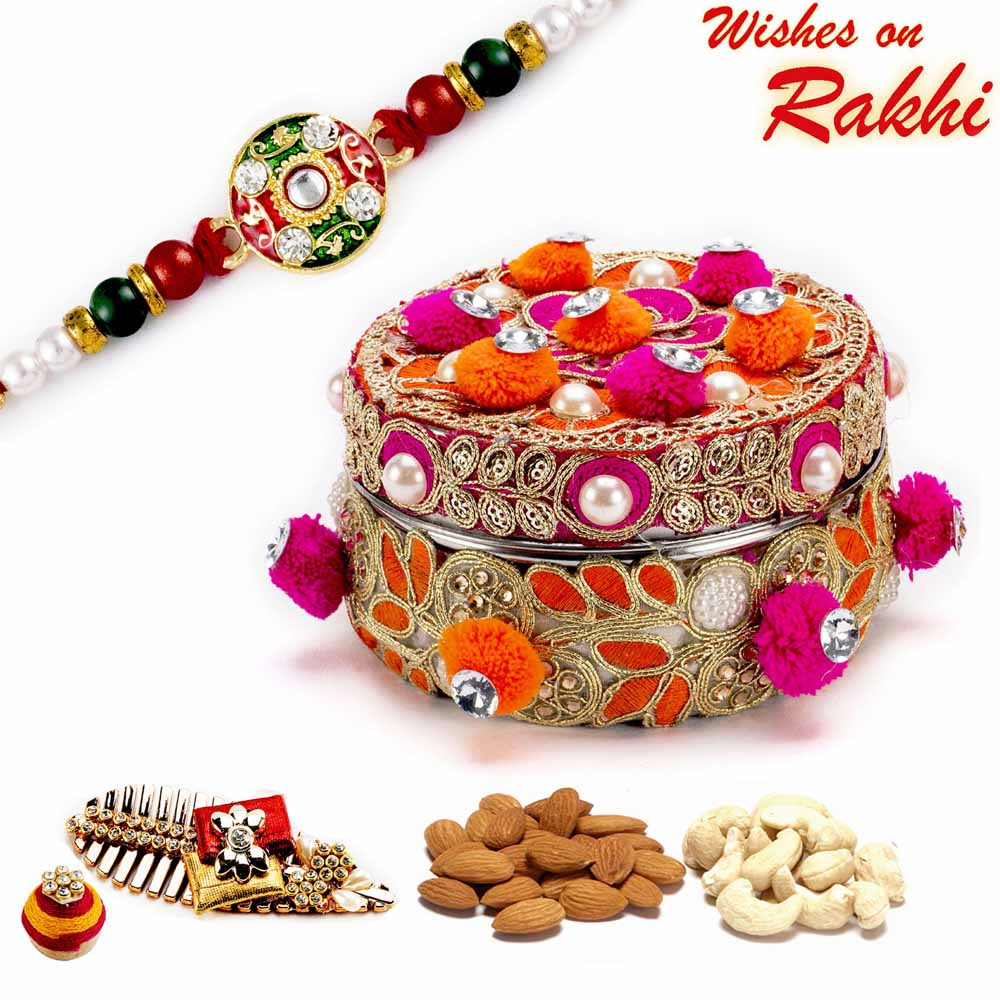 Rakhi Hampers-Red & Orange Cotton Balls Dryfruit Box