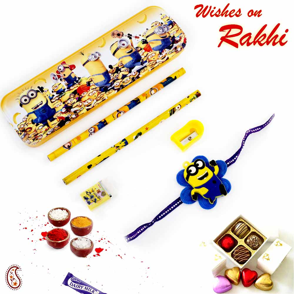 Minions Pencil Box & Rakhi Kids Hamper