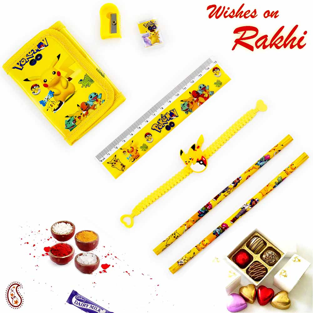 Rakhi Hampers-Cute Pikachu Pouch Box & rakhi Kids Hamper