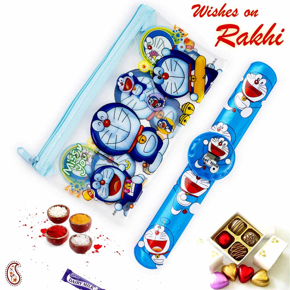 Rakhi Hampers-Cute Doremon & Family Pouch Box & Rakhi Kids Hamper