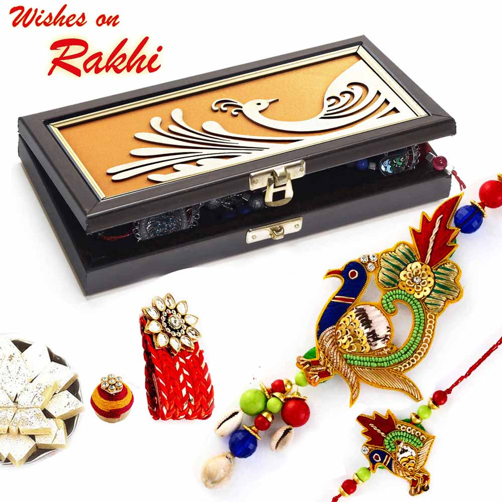 Premium Rakhi Gift Box with Set of Peacock Style Bhaiya Bhabhi Rakhis