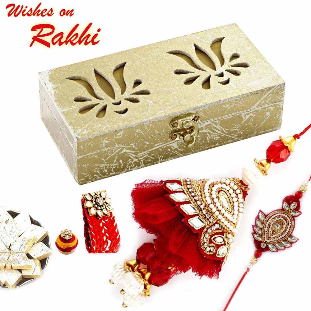Rakhi Hampers-Premium Lotus Cut Rakhi Gift Box with Set of Red Kundan Studded Bhaiya Bhabhi Rakhis