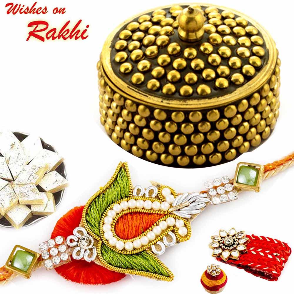 Rakhi Hampers-Premium Rakhi Gift Box with Orange & Green Zardosi Rakhi