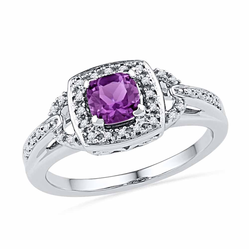 AMETHYST & DIAMOND FINGER RING