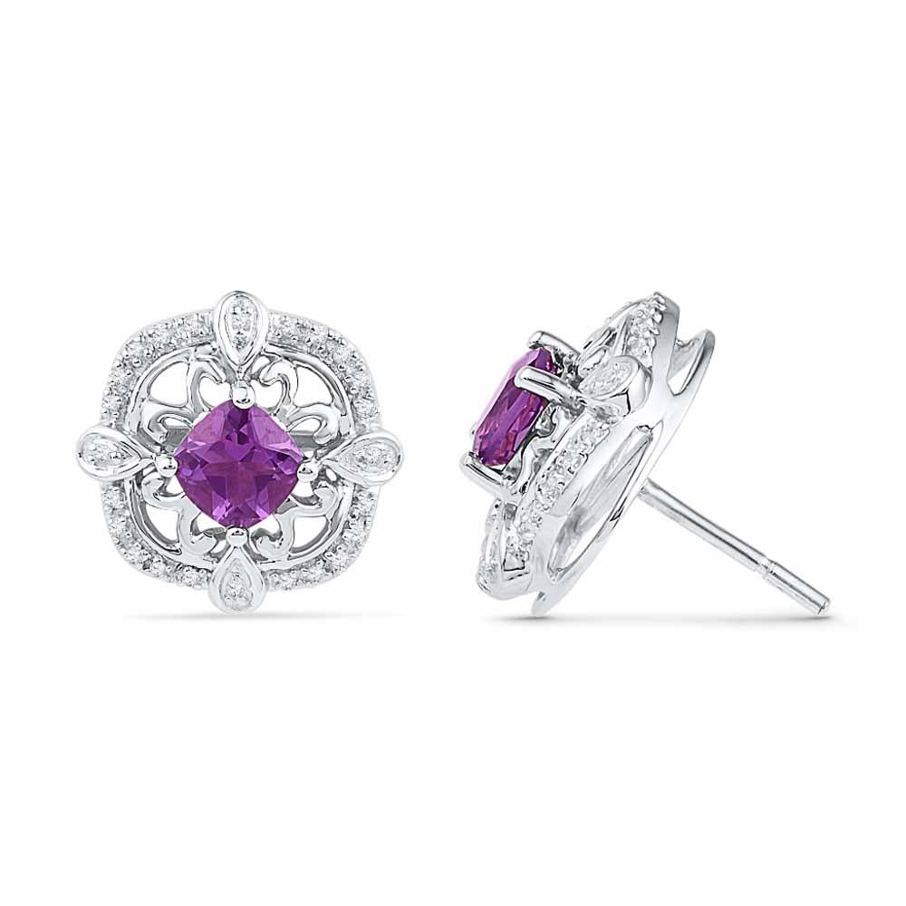 AMETHYST WITH STERLING SILVER DIAMOND EARRINGS